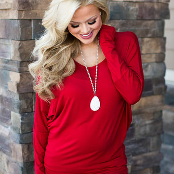 (Black Friday) Soft and Perfect Dolman Top Rich Red