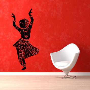 Indian Woman Wall Decals Belly Dance Girl Dancer Gym Dance Studio Vinyl Decal Sticker Home Interior Design Art Mural Wall Decor KG436