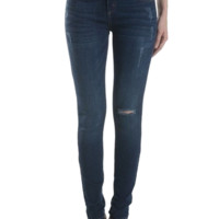 Knee Cut Mid Rise Distressed Skinny