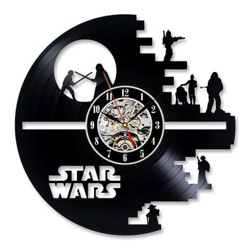 Star Wars Vinyl Record Wall Clock with LED Lights and Remote