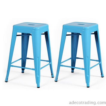 Tolix-style Chair Counter Stool 24-inch Light Blue Glossy Metal (Set of 2)