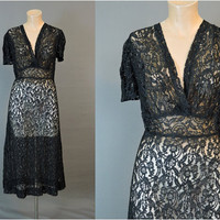 1940s AS-IS Black Lace Dress, 34 inch bust, Vintage 40s Dress with holes, Costume