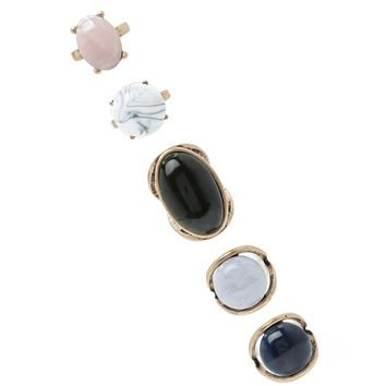 Faux Stone Statement Ring Set