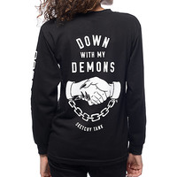 Sketchy Tank Down With My Demons Black Long Sleeve T-Shirt