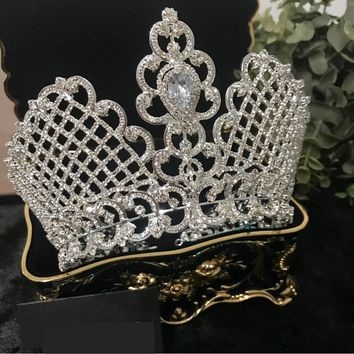 New Luxury Cubic Zircon Crown Bridal Tiaras Diadem Royal Queen Princess Pageant Cosplay Party