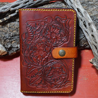 Leather Moleskine Cover With Western Tooling