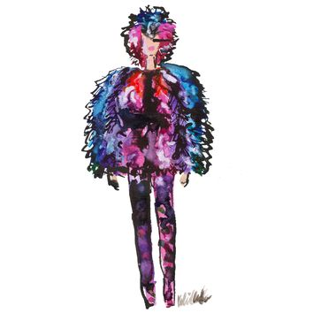 Feathery Girl Watercolor Painting