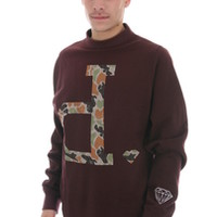 Diamond Supply Co Men's Un-Polo Rain Camo Cre Neck Top In Burgundy (C13-P513-BUR)