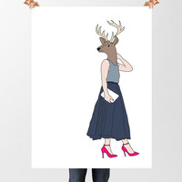 Deer Lady Illustration, Animal In Clothes, Human Deer Head Print, Fashion Print, Printable Download, Hipster Art,  Anthropomorphic Art,