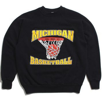 University of Michigan Basketball Net Better Basics Crewneck Sweatshirt Black (Large)