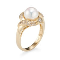 Belpearl Women's Akoya Cultured Pearl & Diamond Ring - White - Size 7.5