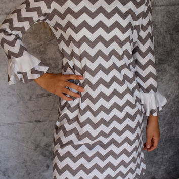 Petal Sleeve dress in Grey and White Chevron Knit  for Women by GreenStyle