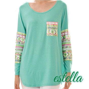 Brighter Days Ahead - Aqua Top with Bright Colors Sequin Detail