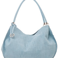 Elissa-Perforated Leather Hobo Bag-Powder Blue