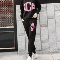 """Gucci""Woman's Leisure Fashion Letter Drill Printing Spell Color Long Sleeve Trousers Two-Piece Set Casual Wear"