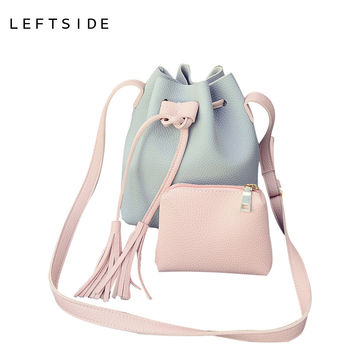 LEFTSIDE PU Leather Handbag Cheap Crossbody Handbags Organizer Small Cute Bucket Bag Messenger Women Feminina Bags Bolsos