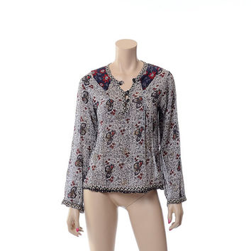 Vintage 60s 70s India Cotton Gauze 1960s 1970s Indian Metallic Ethnic Floral Boho Peasant Hippie Festival Gypsy Blouse