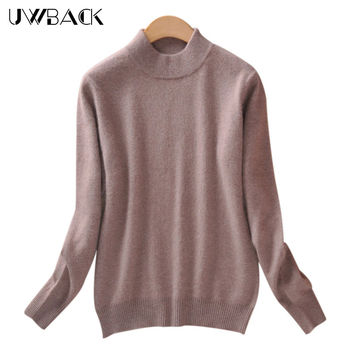 Uwback 2016 New Brand Sweater Women Wool Plus Size Pink Slim Basic Pullovers Femme 2XL Cashmere Knitted Sweater Women TB1159