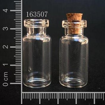 20 pcs 2ml Small Clear Glass Bottle Vial Charm Pendant 16x35mm- Glass Bottle with Cork and Silver Eyehook