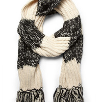 Marled Rugby Striped Scarf Cream/Black One