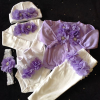 Newborn baby girl lavender complete take me home outfit