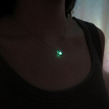 Green Glowing Cube Necklace, sterling silver Necklace, Everyday Jewelry