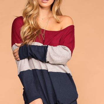 Sabrina Navy and Burgundy Color Block Waffle Knit Tie-Front Top