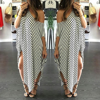 Casual Striped Pattern One Shoulder Asymmetrical Maxi Dress