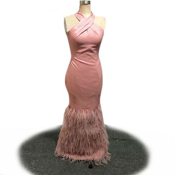 Halter Neck Evening Dress Elegant Pink Satin Long Mermaid Gowns   Feathers Party Dresses