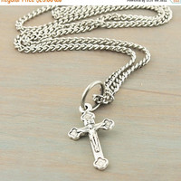 On Sale Flared Byzantine Cross Necklace Antique Silver Stainless Steel 18 Inch Endless Chain Teen Christian Gift Graduation Gift Confirmatio