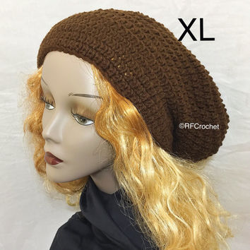 XL | Dark Brown Slouchy Beanie | Round | Roomy | Dreadlock Hat | Mens Beanie | Womens Beanie | Locs | Dreads | Tam