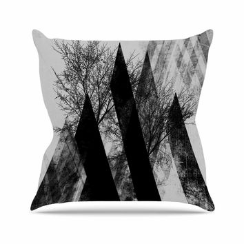 "Pia Schneider ""TREES V2"" Black White Gray Outdoor Throw Pillow"