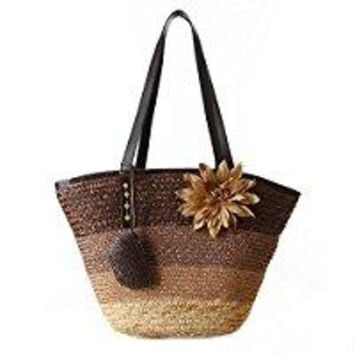 Catkit Fashion Womens Rainbow Flower Summer Beach Handbag Straw Totes Holiday Sea Shoulder Bag