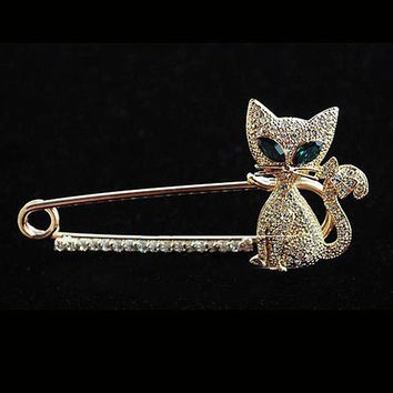 br012 Crystal Cat Brooches Women Brooch Pins Fashion Jewelry Fox