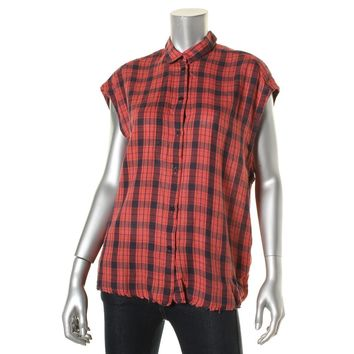 IRO Womens Kenna Wool Blend Plaid Button-Down Top