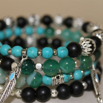 Wrap bracelet Memory Wire, Turquoise stone beads Gemstone agate, glass beads and charms