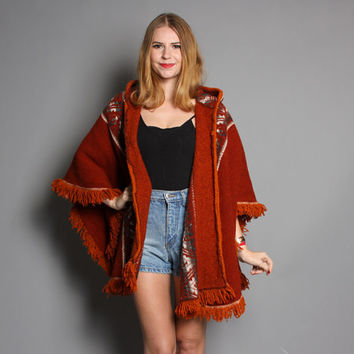 70s Wool HIPPIE PONCHO / Ethnic Fringed Cape with HOOD