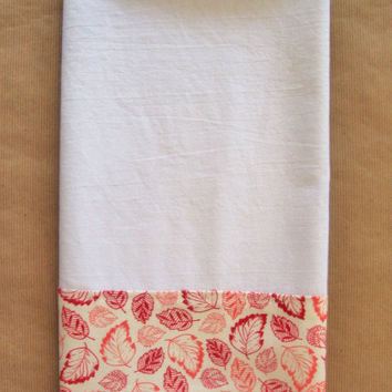 Flour Sack Towel - Kitchen Towel - Lint Free Tea Towels - Fabric Trimmed Towel - Decorative Embellished Towel - Dish Towel Red Coral Leaves