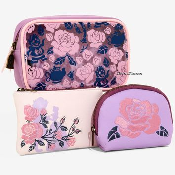 Licensed cool Loungefly Disney Beauty and the Beast Floral Cosmetic Make-Up Tote Bag 3 Set