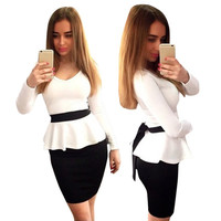 V-neck Peplum Work Wear