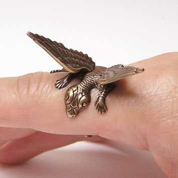 RESERVE for Ariana, Steampunk Dragon Ring, dragon body wrap around finger