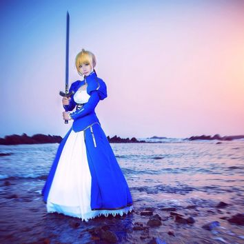 Saber Uwowo Costume Artoria Pendragon Anime Fate Stay Night UBW Fate Zero Sword Cosplay Blue and White Dress