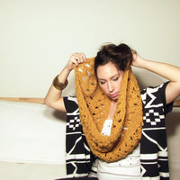 Mustard Yellow Chunky Lace Infinity Scarf, Crochetted Cowl