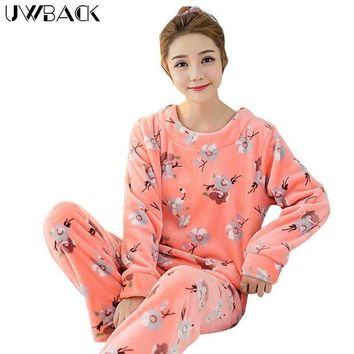 MDIGCI7 Uwback 2017 Winter Brand Pajamas Sets For Women Floral Plush Flannel Sleepwear Femme Animal Coral Fleece Kigurumi Mujer  OB240