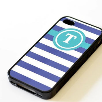Nautical Monogram iPhone Case - Teal & Navy Stripes