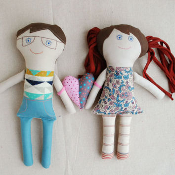 Family Dolls, Valentine's Day Gift, Stuffed Dolls with Heart, Textile Cloth Dolls, Handmade Dolls, Gift for Lovers, Retro Cute Soft Dolls