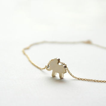 Elephant - small shiny gold elephant necklace - dainty lovely jewelry