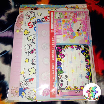 75pc Kawaii Stationery Grab Bag Lg/Mini/Die Cut Memo Sheets + Letter Sets Variety Value Pack Sanrio Tokidoki San-X Crafts Scrapbooking Kids