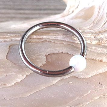 Septum Upper Ear Daith Rook,Tragus,Cartilage,Hoop Earring,Nose Ring,Eyebrow Ring BCR Captive White Fire Opal Bead Body Jewelry 316L Surgical Steel Diameter:10mm,Gauge 16 (1.2mm)