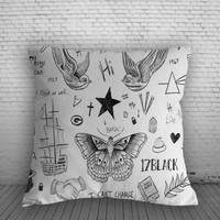 1D Harry Styles tattoos Pillow, Pillow Case, Pillow Cover, 16 x 16 Inch One Side, 16 x 16 Inch Two Side, 18 x 18 Inch One Side, 18 x 18 Inch Two Side, 20 x 20 Inch One Side, 20 x 20 Inch Two Side